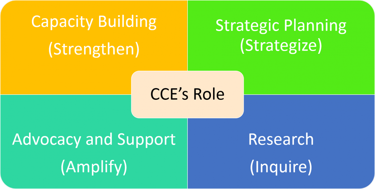 Four Roles of CCE: Advocacy and Support, Research, Capacity-Building, Strategic Building